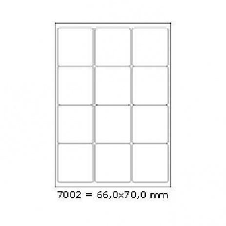 Etichete autoadezive 66 x 70 mm, 12 de etichete, A4, 100 coli