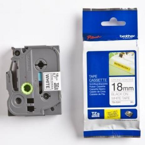 Brother TZ-S241 / TZe-S241, 18mm x 8m, černý tisk/bílý podklad, originální páska