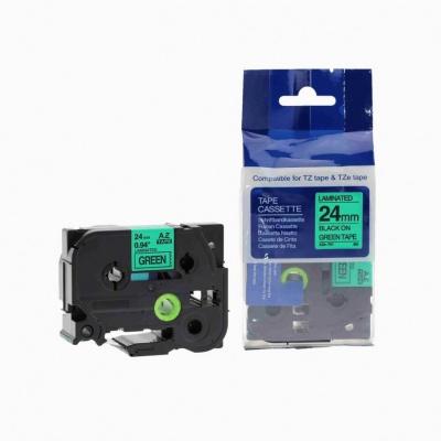 Kompatibilní páska s Brother TZ-751 / TZe-751, 24mm x 8m, černý tisk / zelený podklad