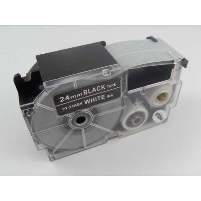 Kompatibilní páska s Casio XR-24ABK 24mm x 8m bílý tisk / černý podklad