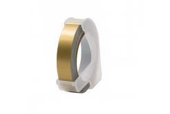 Dymo Omega, 9mm x 3m, bílý tisk / zlatý podklad, kompatibilní páska