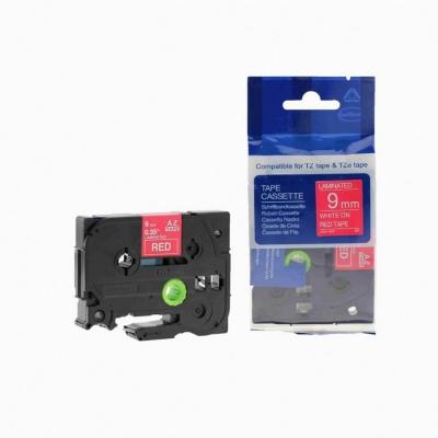 Kompatibilní páska s Brother TZ-425 / TZe-425, 9mm x 8m, bílý tisk / červený podklad