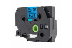 Kompatibilní páska s Brother TZ-FX551 / TZe-FX551, 24mm x 8m, flexi, černý tisk / modrý po