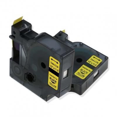 Kompatibilní páska s Dymo 18490 / S0718080, 12mm x 3, 5m černý tisk / žlutý podklad, nylon flexi