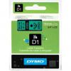 Dymo D1 45809, S0720890, 19mm x 7m, black text/green tape, original tape