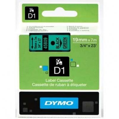 Dymo D1 45809, S0720890, 19mm x 7m, černý tisk/zelený podklad, originální páska