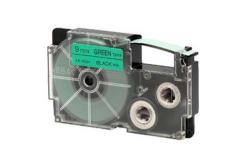 Casio XR-9GN1, 9mm x 8m, černý tisk/zelený podklad, originální páska
