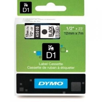 Dymo D1 45010, S0720500, 12mm x 7m černý tisk / průhledný podklad, originální páska