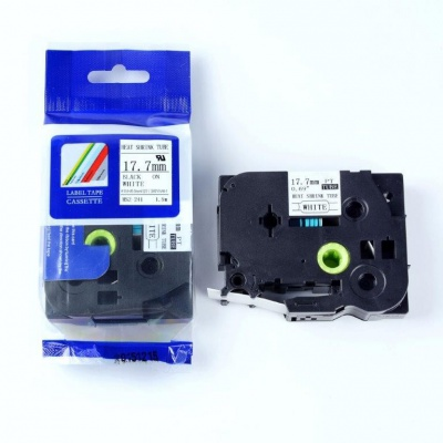 Kompatibilní páska s Brother HSe-241, 17,7mm x 1,5m, černý tisk / bílý podklad