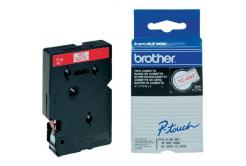 Brother TC-292, 9mm x 7,7m, červený tisk / bílý podklad, originální páska
