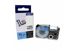 Kompatibilní páska s Casio XR-12BU1, 12mm x 8m černý tisk / modrý podklad