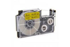 Kompatibilná páska s Casio XR-6YW1, 6mm x 8m čierny tisk / žltý podklad