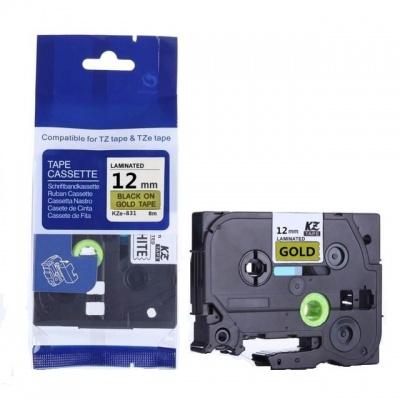 Kompatibilní páska s Brother TZ-831 / TZe-831, 12mm x 8m, černý tisk / zlatý podklad