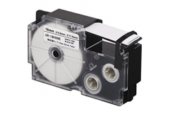 Banda compatibila Casio R3.5WE 6mm x 2,5m contractabila, text negru / fundal alb