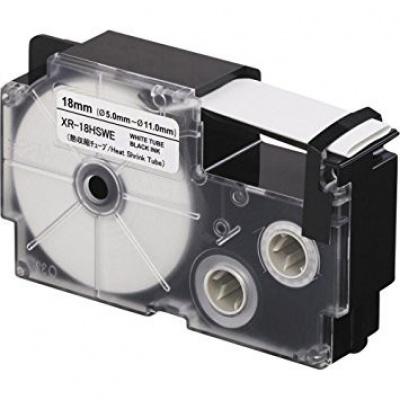 Casio R3.5WE (XR-6HSWE), 6mm x 2m, černý tisk / bílý podklad, smršťovací, kompatibilní páska
