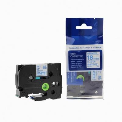 Kompatibilní páska s Brother TZ-243 / TZe-243, 18mm x 8m, modrý tisk / bílý podklad