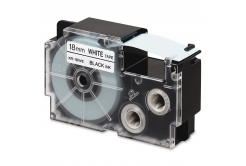 Casio R11WE (XR-18HSWE), 18mm x 2m, ?11mm, černý tisk / bílý podklad, smršťovací, kompatibilní páska