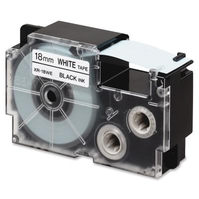 Casio R11WE (XR-18HSWE), 18mm x 2m, černý tisk / bílý podklad, smršťovací, kompatibilní páska