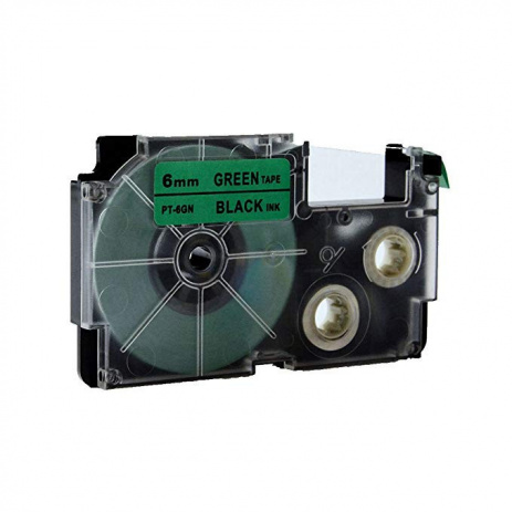 Kompatibilní páska s Casio XR-6GN1, 6mm x 8m černý tisk / zelený podklad
