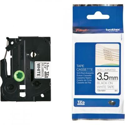 Brother TZE-N201, 3,5mm x 8m, černý tisk/bílý podklad, originální páska
