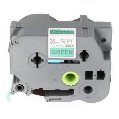 Kompatibilní páska s Brother TZ-761 / TZe-761, 36mm x 8m, černý tisk / zelený podklad