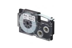 Casio XR-9WE1, 9mm x 8m, černý tisk/bílý podklad, originální páska