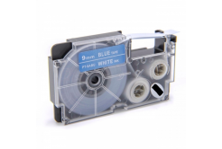 Kompatibilní páska s Casio XR-9ABU 9mm x 8m bílý tisk / modrý podklad
