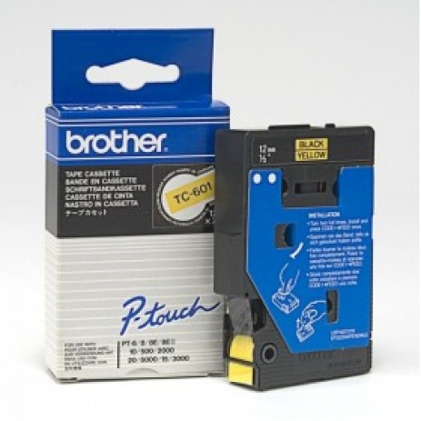 Brother TC-601, 12mm x 7,7m, czarny druk / żółty podkład, taśma oryginalna