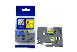 Kompatibilní páska s Brother TZ-FX621/TZe-FX621, 9mm x 8m, flexi, černý tisk/žlutý podklad