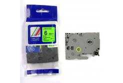 Kompatibilní páska s Brother TZ-D11/TZe-D11, signální 6mm x 8m, černý tisk/zelený podklad