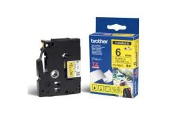 Brother TZ-FX611 / TZe-FX611, 6mm x 8m, černý tisk/žlutý podklad, originální páska