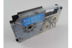 Kompatibilní páska s Casio XR-6ABU 6mm x 8m bílý tisk / modrý podklad