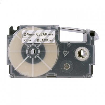 Kompatibilní páska s Casio XR-24X1, 24mm x 8m, černý tisk / průhledný podklad