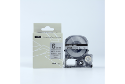 Epson LK-SM6X, 6mm x 9m, černý tisk / matný stříbrný podklad, kompatibilní páska