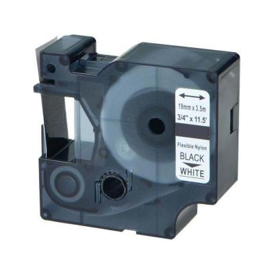 Kompatibilní páska s Dymo 18489 / S0718120, 19mm x 3, 5m černý tisk / bílý podklad, nylon flexi
