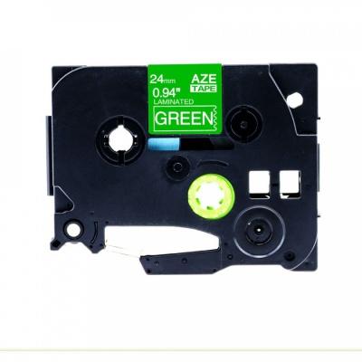 Kompatibilní páska s Brother TZ-755 / TZe-755, 24mm x 8m, bílý tisk / zelený podklad