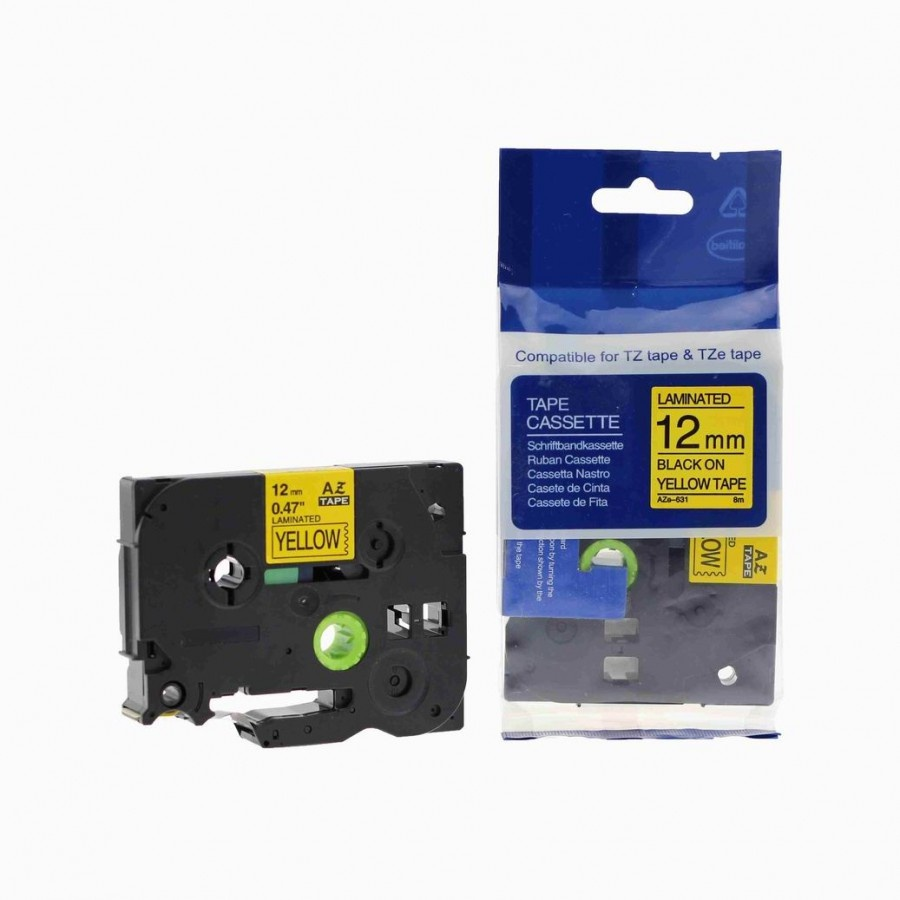 """TZe-631 TZ-631 Black On Yellow Label Tape For Brother P-Touch 1//2/"""" 12MM x 8M"""