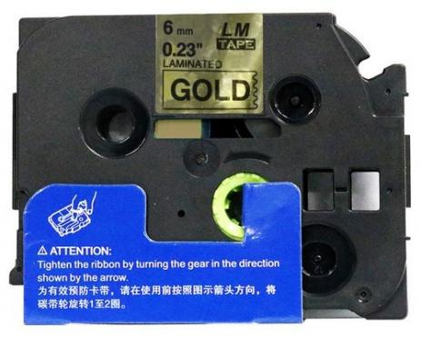 Taśma zamiennik Brother TZ-811 / TZe-811, 6mm x 8m, czarny druk / złoty podkład