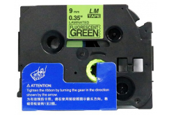 Kompatibilní páska s Brother TZ-D21/TZe-D21, signální 9mm x 8m, černý tisk/zelený podklad