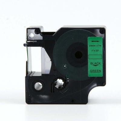 Kompatibilní páska s Dymo 53719, S0720990, 24mm x 7m, černý tisk / zelený podklad