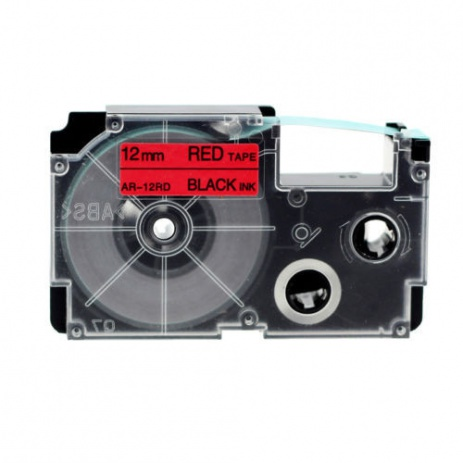 Compatible with tape Casio XR-12RD1, 12 mm x 8m black printing / red background