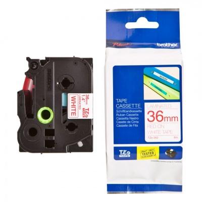 Kompatibilní páska s Brother TZ-262 / TZe-262, 36mm x 8m, červený tisk / bílý podklad