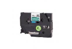 Kompatibilní páska s Brother TZ-745 / TZe-745, 18mm x 8m, bílý tisk / zelený podklad