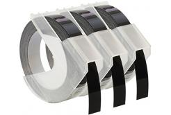 Kompatibilní páska s Dymo S0847730, 9mm x 3 m, bílý tisk / černý podklad, 3ks
