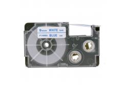 Kompatibilní páska s Casio XR-9WEB 9mm x 8m modrý tisk / bílý podklad