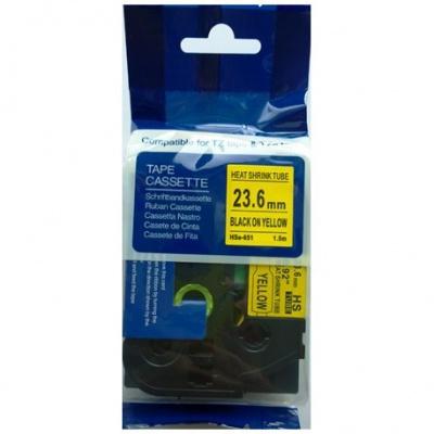 Kompatibilní páska s Brother HSe-651, 23,7mm x 1,5m, černý tisk / žlutý podklad