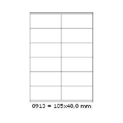 Samolepicí etikety 105 x 48 mm, 12 etiket, A4, 100 listů