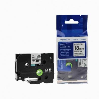 Kompatibilní páska s Brother TZ-FX241/TZe-FX241, 18mm x 8m, flexi, černý tisk/bílý podklad