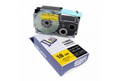 Casio R11YW (XR-18HSYW), 18mm x 2m, ?11mm, černý tisk / žlutý podklad, smršťovací, kompatibilní páska