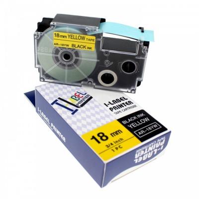 Casio R11YW (XR-18HSYW), 18mm x 2m, černý tisk / žlutý podklad, smršťovací, kompatibilní páska